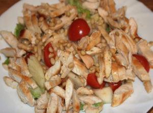 Салат с орехом кедра и мясом