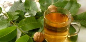 Чай в стакане, орехи и листья