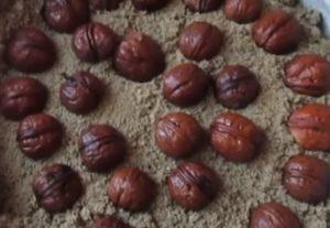 орехи в песке