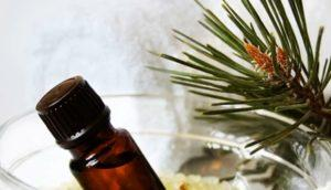 Иголки сосны и бутылочка с маслом
